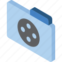 file, folder, iso, isometric, movie icon