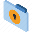 file, folder, iso, isometric, lock icon
