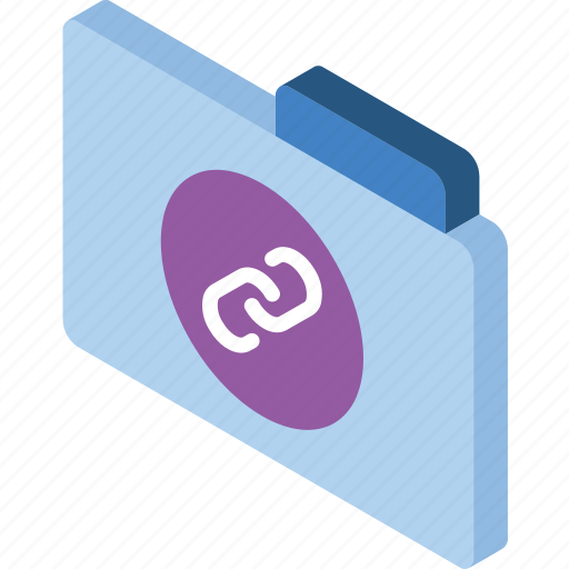 file, folder, iso, isometric, links icon