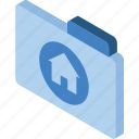 file, folder, home, iso, isometric icon