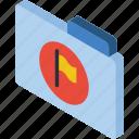 file, flag, folder, iso, isometric icon