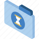 file, folder, iso, isometric, timed icon