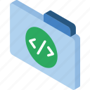 code, file, folder, iso, isometric icon