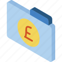 file, finance, folder, iso, isometric, pound icon