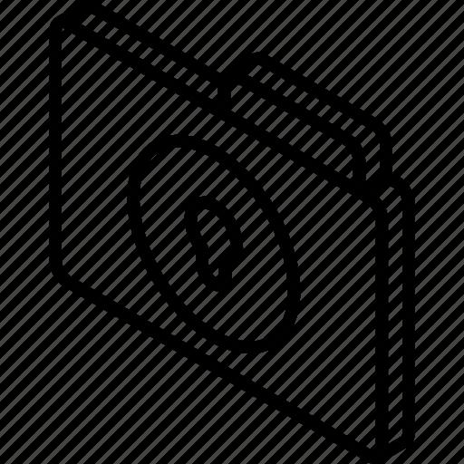 file, folder, iso, isometric, lock icon