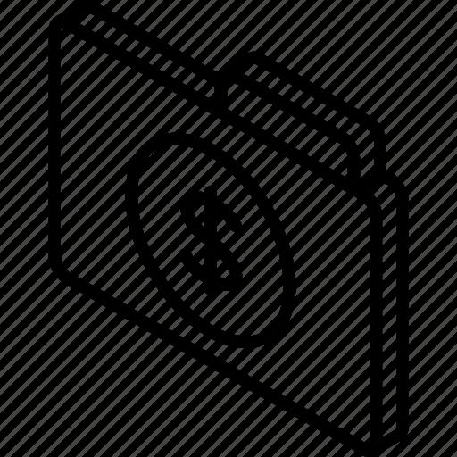 dollar, file, finance, folder, iso, isometric icon