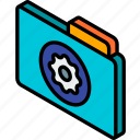 file, folder, iso, isometric, settings icon