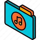 file, folder, iso, isometric, music icon