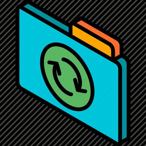 file, folder, iso, isometric, sync icon