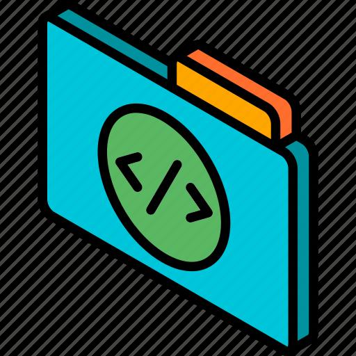 code, file, folder, iso, isometric icon