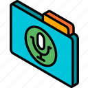 file, folder, iso, isometric, recordings icon