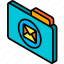 file, folder, iso, isometric, mail icon