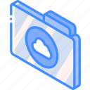 cloud, file, folder, iso, isometric, the icon