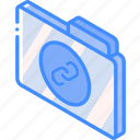 file, folder, iso, isometric, links icon