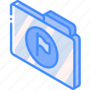 file, flag, folder, iso, isometric icon