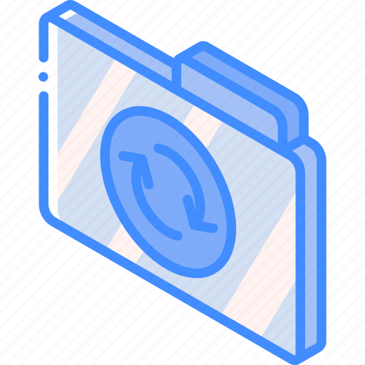 file, folder, iso, isometric, sync icon