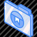 bookmark, file, folder, iso, isometric icon