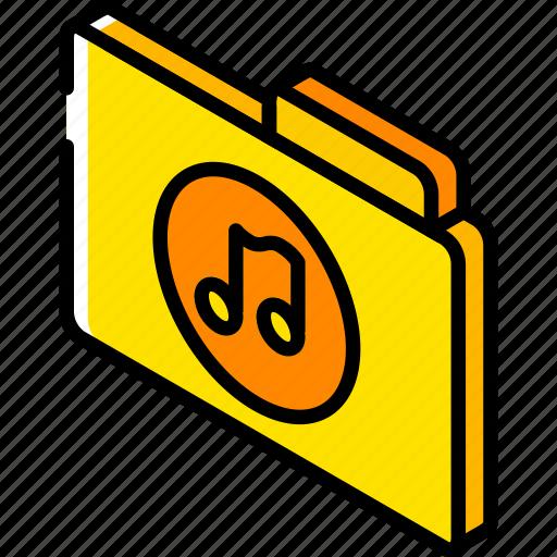 file, folder, iso, isometric, music icon