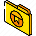 bookmark, folder, iso, isometric, file
