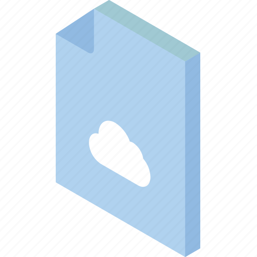 cloud, file, folder, iso, isometric icon