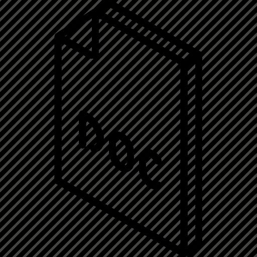 doc, file, folder, iso, isometric, word icon