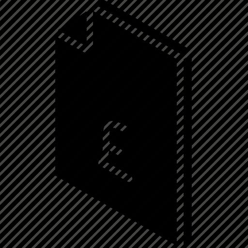 file, finance, folder, iso, isometric, pound icon