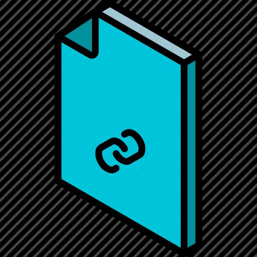 file, folder, iso, isometric, link icon