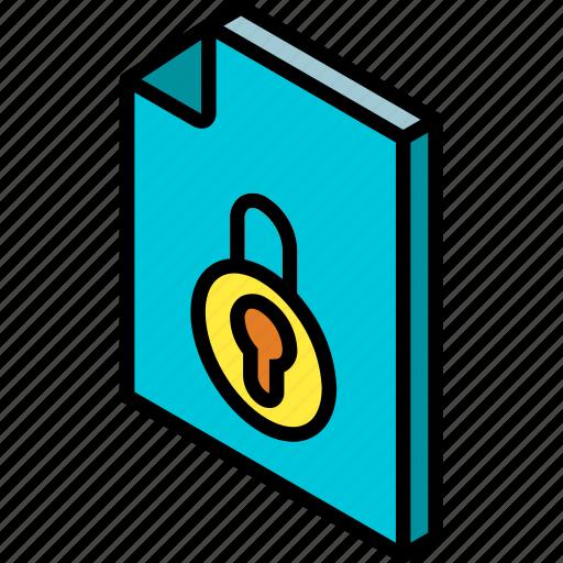 file, folder, iso, isometric, locked icon