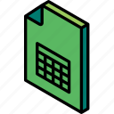 file, folder, iso, isometric, spreadsheet icon
