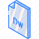 dreamweaver, file, folder, iso, isometric icon