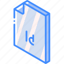 file, folder, indesign, iso, isometric icon