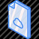 cloud, file, folder, iso, isometric icon