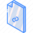 file, folder, iso, isometric, link icon
