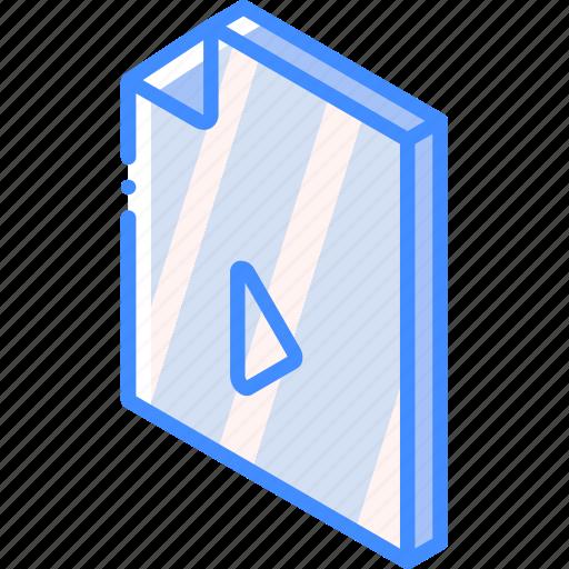 file, folder, iso, isometric, movie icon