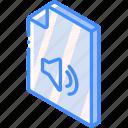 file, folder, iso, isometric, sound icon