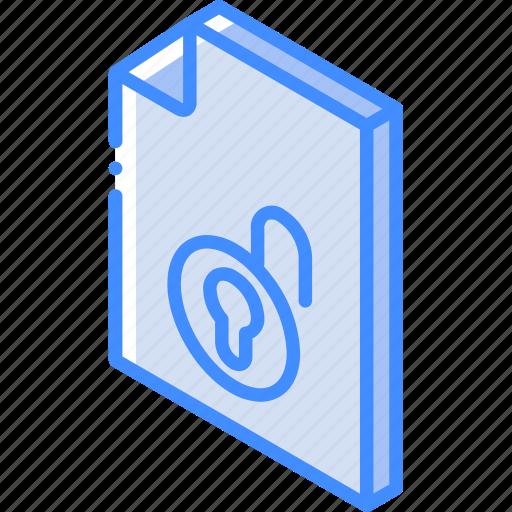 file, folder, iso, isometric, unlock icon