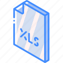 excel, file, folder, iso, isometric icon