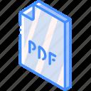 file, folder, iso, isometric, pdf icon