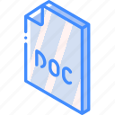 doc, file, folder, iso, isometric, word icon