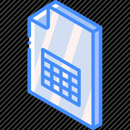 file, folder, iso, isometric, spreadsheet icon