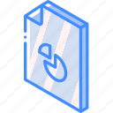 chart, file, folder, iso, isometric icon