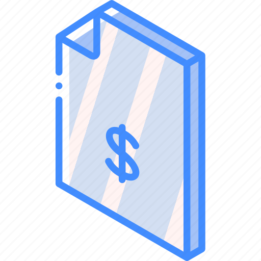 dollar, file, finance, folder, iso, isometric icon