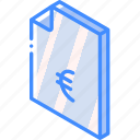 euro, file, finance, folder, iso, isometric icon