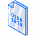 binary, file, folder, iso, isometric icon