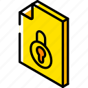 file, folder, iso, isometric, locked icon
