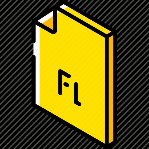 file, flash, folder, iso, isometric icon