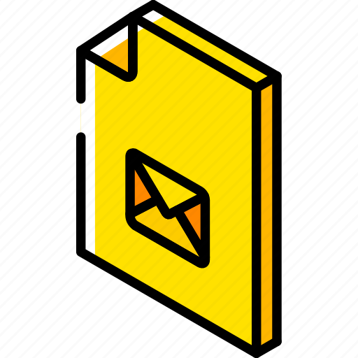 file, folder, iso, isometric, mail icon