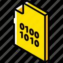 binary, file, folder, iso, isometric icon