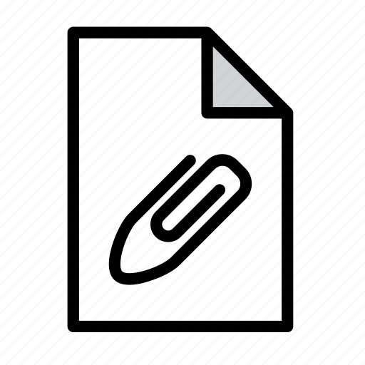 attach, attached, attachment, document, fastener, file, paperclip icon