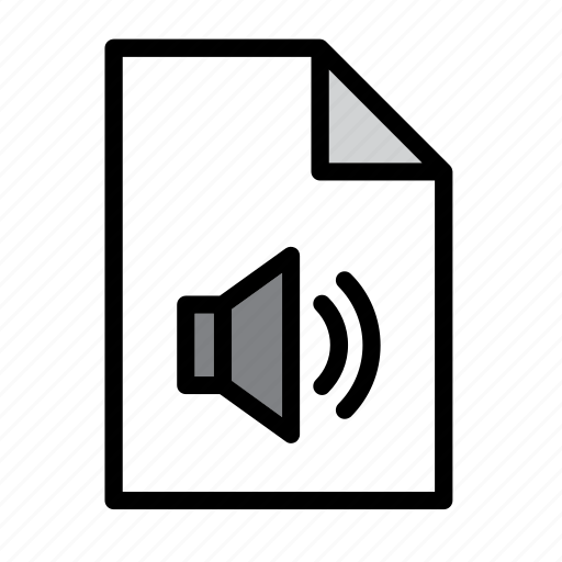 audio, document, file, format, music, sound, speaker icon